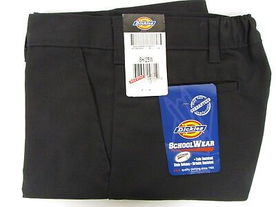 NEW Dickies Boys Black Shorts School Uniform Size 8 H Flat Front Loose Fit