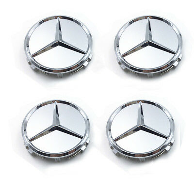 4X75mm Wheel Center Hub Caps Logo Badge Emblem Sticker For Mercedes-Benz Silver