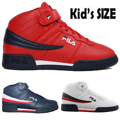 0aa7fd4dfe1bc Kids Fila F13 F-13 Classic Mid High Top Basketball Shoes NAVY RED 3VF80117