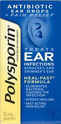 Polysporin Antibiotic Ear Drops for Earaches, Swimmers Ear Heal Fast Exp 08/2020