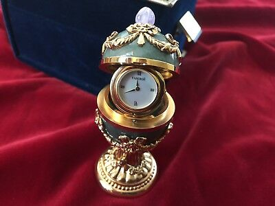Authentic Faberge Imperial Green Jade 24K & Amethyst Egg Mop Swiss Clock Rare