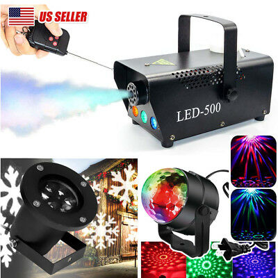 LED Fog Smoke Machine Stage Light Crystal Ball Snowflake Projector Xmas Party DJ