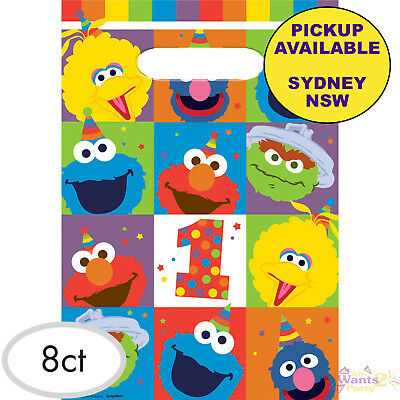 Elmo Sesame Street 1St Birthday Party 8 Loot Bags Favours Lolly Treat Sacks