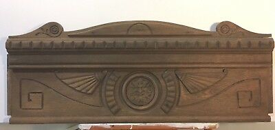 """Antique Wood Pediment, Carved Oak, Face In Center, Would Fit With 32"""" Door"""