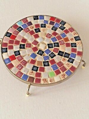 Vintage Tiled Trivet Hot Pad Coaster Round 4 Legs Multi Color Kitchen Table Ware