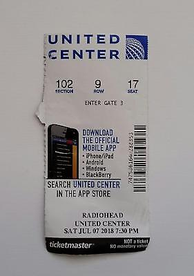 Radiohead Ticket Stub, Chicago 7/7/18 United Center, Official Ticket, Used