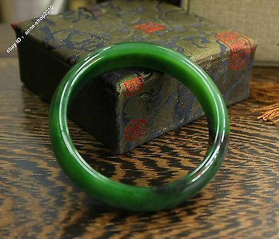59mm Chinese Xinjiang 100% Hetian Green Jade Hand-carved Bracelet Bangle