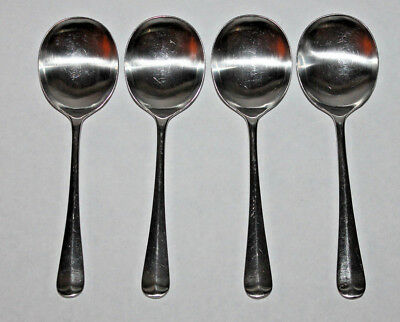 Lot of 4 Round Soup Spoons Cooper Brothers Queen Anne Satin Stainless Steel