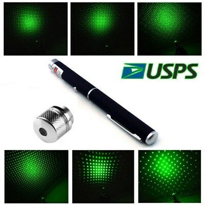 Green Laser Pointer 50Miles 532nm Visible Beam Star Cap Bright 2in1 AAA Lazer