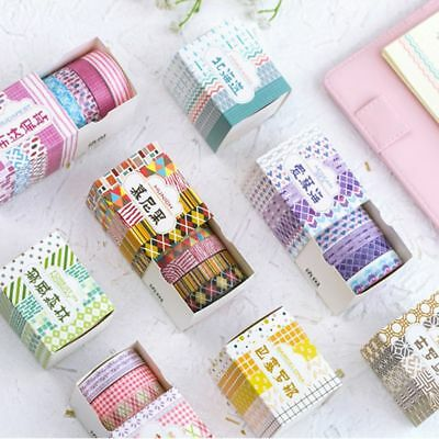 5 Pcs/Box Checkered Stripes Masking Washi Tape Decorative Adhesive Sticker Label