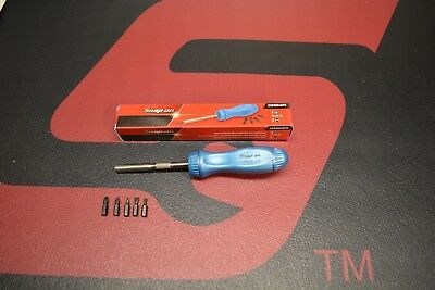 New Rare Snap On Pearl Blue Ratcheting Screwdriver With 5 Bits