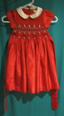 Youth Girls  Vintage Charter Club Red Smocked  Dress Size 4 / 4T