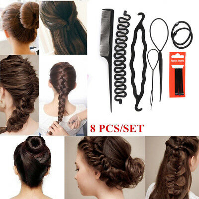8Pcs/Set Styling Clip Bun Maker Hair Twist Braid Ponytail DIY Tool Accessories