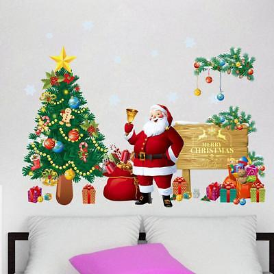 UK Christmas Wall Sticker Xmas Tree Santa Claus Door Glass Decal Removable Decor