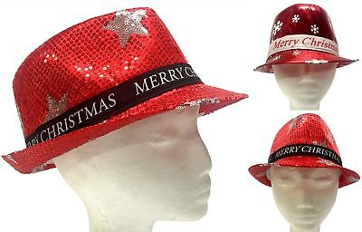 New Adults Christmas Trilby Hat Fedora Cap Xmas Party Hat Squins Snowflake