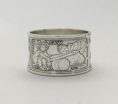"Gorgeous Antique Nursery Rhyme Sterling Silver Napkin Ring ""TOM~TOM~SEE~SAW"""