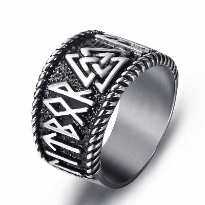Mens Stainless Steel Ring Viking Valknut Scandinavn Odin Symbol Vintage Jewelry