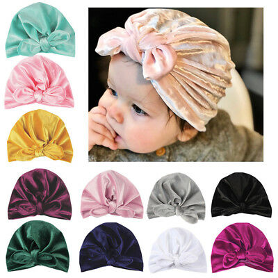 Newborn Toddler Kids Baby Boy Girl Turban Cotton Beanie Hat Winter Bowknot Cap