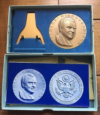 Complete PRESIDENT RICHARD NIXON 1969 OFFICIAL INAUGURAL BRONZE MEDAL