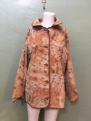 Vintage Tan Suede Leather Jacket Reversible Animal Leopard Print 70s
