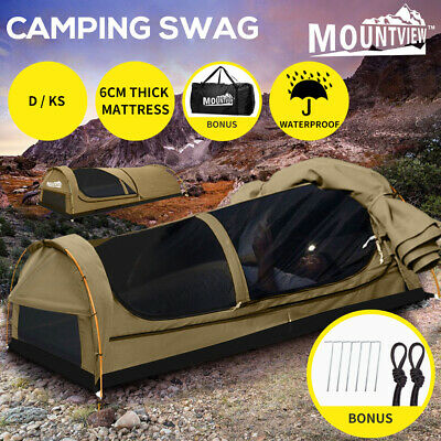 MOUNTVIEW Double Swag Camping Swags Canvas Tent Deluxe Kings Poles Daddy Bag NEW