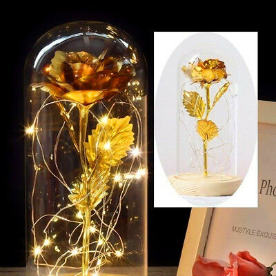 Beauty And The Beast 24k Gold Plated Forever Rose Dip Led Light Glass Dome Gift