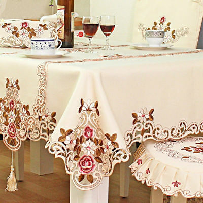 Round Red Floral Flower Embroidered Table Cover Tablecloth Cutwork Table Decor