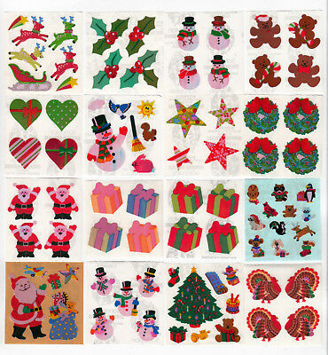 Sandylion Vintage Stickers FUZZY SANTA HEADS Square Module Christmas!