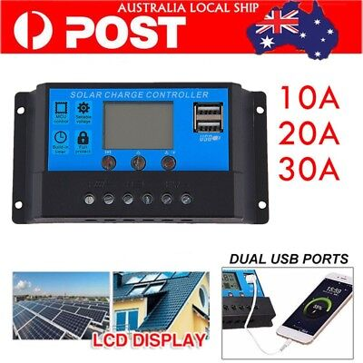 12V/24V 10A -30A Solar Panel Battery Regulator Charge Controller PWM LCD Display