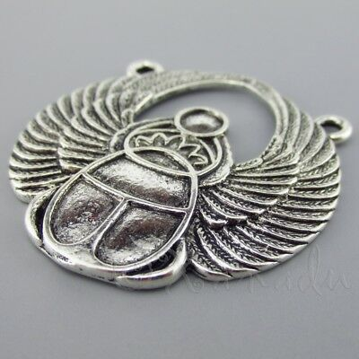 Scarab Beetle Connector Charm Antique Silver Tone SC6496