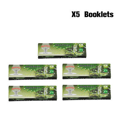 5 X HORNET 78MM MENTHOL Flavored Cigarette Rolling Paper 50 Papers Per Pack