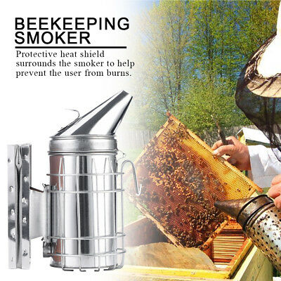 Bee Hive Smoker W/ Heat Shield Protection Board Stainless Steel Beekeeping Tool