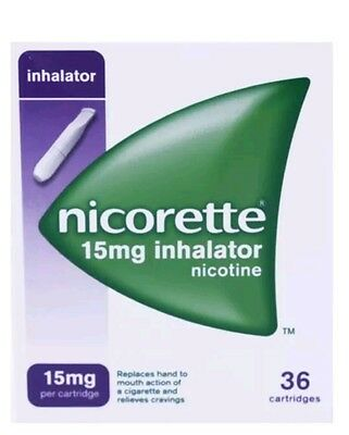Nicorette inhalator 36 15 mg cartridges +1 inhalator sent flat