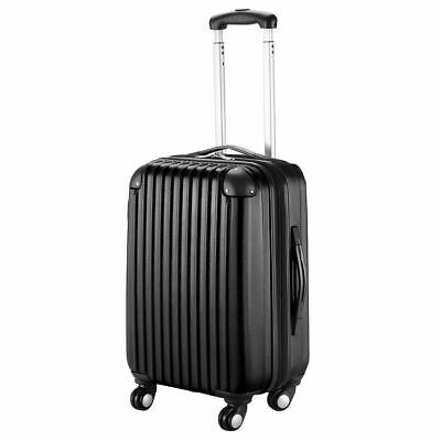 """GLOBALWAY 20"""" Black ABS Carry On Luggage Travel Bag Trolley Suitcase Expandable"""