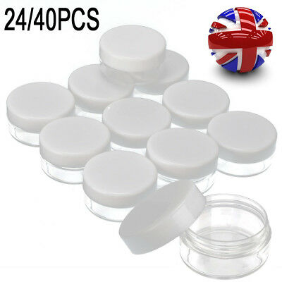 40x Clear Plastic Empty Cosmetic Sample Storage Containers Jars Pots Sample Jar