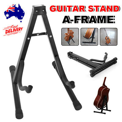 Portable Electric Acoustic Bass Guitar Holder Stand Floor Rack Folding A Frame