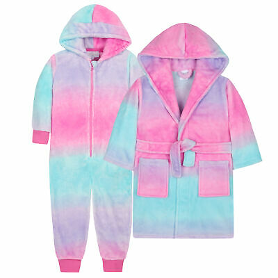 Girls Ombre Unicorn All In One Dressing Gown Robe Gift Set Kids Novelty Dip Dye