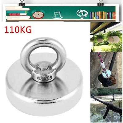 120KG Fishing Recovery Block NdFeB Strong Eyebolt Ring Magnet Metal Detector
