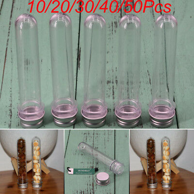 Plastic Test Tubes with Lids,10/50X Sample Tubes with Caps 40ML with 1pcs Tube
