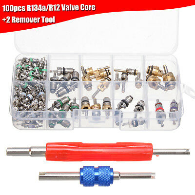 100Pcs HVAC R134A/R12 A/C Air Schrader Valve Core & Remover Tool Kit + 2 Remover
