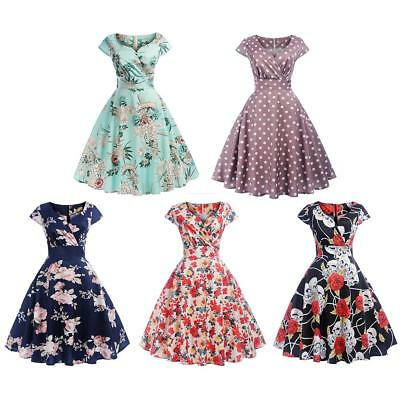 Women Retro Vintage 50s 60s Short Sleeved V Neck Printed Party Swing Dress