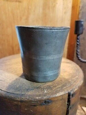 Primitive Antique Late 1700- Mid 1800's Etched Pewter Beaker Tumbler -Nice