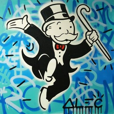 Alec Monopoly Graffiti Handcraft Oil Painting on Canvas,Monopos jump   24*24""