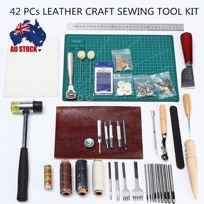 42pcs Leather Craft Punch Tools Stitching Carving Working Sewing Saddle Kits HS