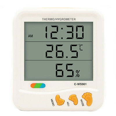 Indoor Outdoor Humidity Monitor Digital LCD Temperature Clock Thermo Hygrometer