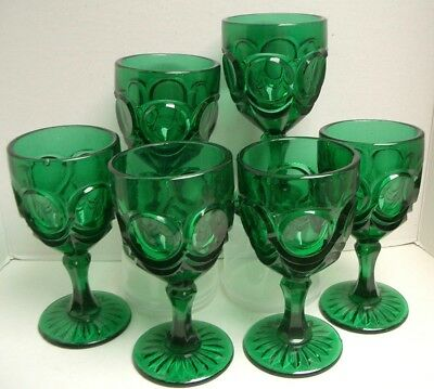 Large Green Chunky Wine Goblets, Set of 6, GUC