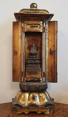ANTIQUE 18th CENTURY JAPANESE MINIATURE TEMPLE WOODEN CARVED BUDDHA