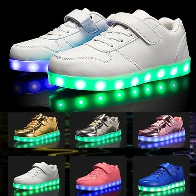 Boys Girls Kids Led Light Up Shoes Luminous Flashing Trainers Sneakers Gift Size