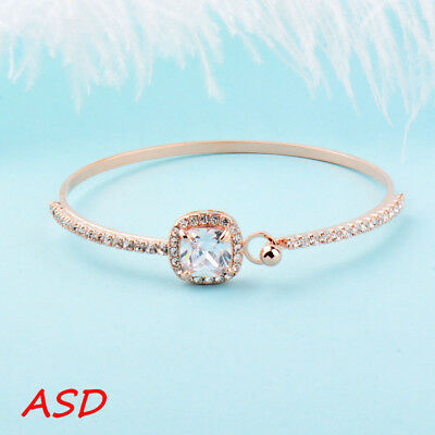 Beautiful Sparkly Square Cubic Zirconia Silver Gold Bracelet For Wedding Bangle