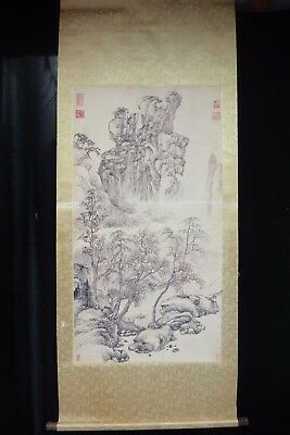 Very Fine Large Old Chinese Scroll Painting Landscape with Seal Marks